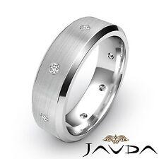 Round Diamond Men Eternity Ring Wedding Solid Brushed Band 14k White Gold 0.16Ct