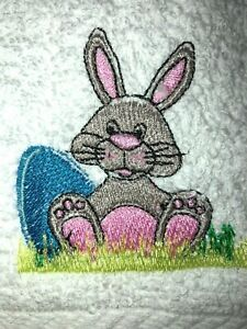 Embroidered White Bathroom Hand Towel Easter Bunny with Egg in Grass HS1289