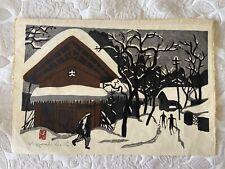 New listing Vintage Original Master Kiyoshi Saito Woodblock Print Winter In Aizu Signed