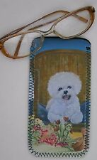BICHON FRISE DOG DESIGN NEOPRENE GLASS CASE POUCH SANDRA COEN ARTIST PRINT
