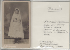 Antique CDV photo Religious First Communion Girl Holding Candle Bellevue Iowa