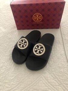 Tory Burch Lina Slide Sandals Royal Navy/ New Ivory Women Size 8 New