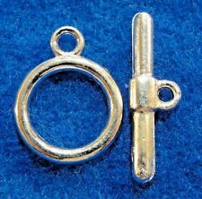 50Pcs. WHOLESALE Silver-Plated ROUND Toggle Clasps Connectors Tibetan Hook Q0718