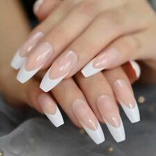 White French Tip Long Coffin Press On Nails Fake False 24 Pc Nail Set Fashion