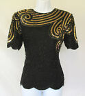 VINTAGE 1970s 80s STENAY SILK BEADED SEQUIN TOP MADE IN INDIA BLACK GOLD SIZE S
