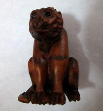 "Monkey Ojime Netsuke bead Minature Box wood carved bead 1.5"" tall"