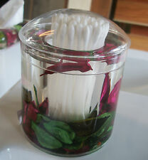 DECORATIVE ACRYLIC ROSE LIDDED COTTON BUD HOLDER  FLOATING ROSE PETALS