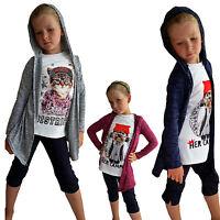 2 in 1 MÄDCHEN Cardigan shirt Pullover Pulli Longshirt Jacke Kapuze 104-158 NEU