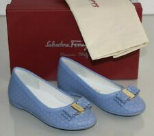 NEW SALVATORE FERRAGAMO Mini Varina Flats Perforated Bow Girls Kids Blue 27