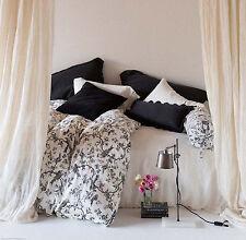 Bella Notte Bird Toile King Duvet Cover W-Brd103-011 White Black 100% Linen Nwt