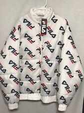 NWT Mens Fila Big Logo Puffer Jacket White 2XL Big & Tall
