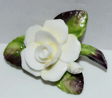 Vintage Cara China Staffordshire Figural China Rose Flower Brooch Pin Signed