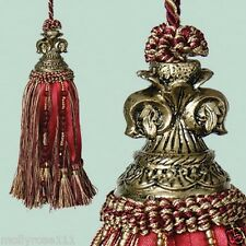 French Provincial Fluer De Lys Burgundy Gold Beaded Door Decorator Tassel
