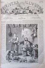 SANCHO PANCHA LE TUEUR DE LOUPS  GRAVURE XIXéme N° 3 de L'UNIVERS ILLUSTRE 1858