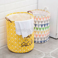 Foldable Portable Large Cotton Laundry Basket Hamper Toy Cloth Storage Organizer