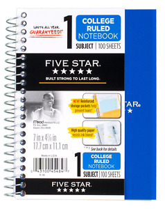 """Five Star Spiral Notebook, 1 Subject, College Ruled Paper, 100 Sheets, 7"""" x 5"""","""