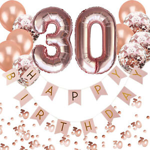30. Geburtstag Deko Set - Folien Luftballons 30 Girlande Konfetti Ballons uvm.