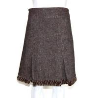 NANETTE LEPORE Brown Tweed Velvet Ruched Hem Pleated Skirt size 8