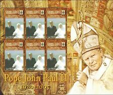 MODERN GEMS- Sierra Leone - Pope John Paul II & Jacques Chirac - Sheet of 6 -MNH