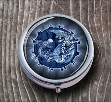 BLUE YIN AND YANG WITH DRAGON AND TIGER PILL BOX ROUND METAL -jvc4Z
