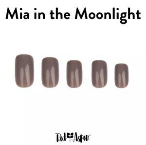 RED ASPEN Reusable Pop Glue On Nail Dashes Medium Square Shiny Mia Moonlight 24