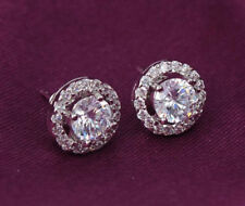 6 mm Solitaire Halo Moissanite Diamond Push Stud Earrings 14k White Gold Finish