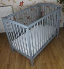 MINI  SPACE SAVER SMALL COT 4 BABY /  Grey  + MATTRESS / Fast Delivery / COMPACT