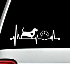 Basset Hound Heartbeat Lifeline Paw Decal Sticker for Car Window 8.0 Inch BG 326