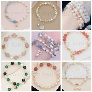 14K Gold Plated Handmade Fresh Baroque Real Pearls Gems Crystal Elastic Bracelet