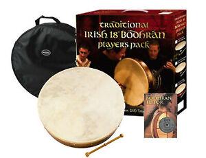 WALTONS 18 INCH DWP19418 BODHRAN IRISH DRUM GOAT SKIN w BEATER - DVD & GIG BAG