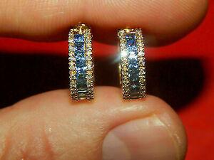 2Ct Princess Cut Blue Sapphire & Diamond Hoop Earrings 14K Yellow Gold Finish