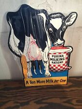 VINTAGE STYLE LARGE PURINA MILK RATION FARM BARN FEED SIGN AWESOME GRAPHIC'S COW