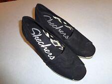 Skechers Woman's Black Canvas Wedge Peep toe Shoe Size 7.5M ~VERY CLEAN