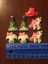 Lot Of 7 Resin Flat back Cabochons  Pony Tiana Skull Cowgirl Scrapbooking-Crafts
