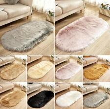 Oval Circle Soft Shaggy Rug Kids Living room Bedroom Carpet Floor Fluffy Mat UK