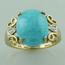 Turquoise 5.98 Ct. With Diamond Ring 925 Sterling Silver Engagement Gift Jewelry