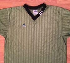 Vtg 90s Adidas Mens Bright Olive Green Mesh Ribbed Soccer Jersey Sz XL