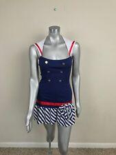Leg Avenue Woman Dress Costume Sailor Open Back Multi-Color Sz S/M
