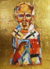 Anita Vina Nielsen Signed St. Nicolas Oil On Canvas, W/Metallic Gold Background