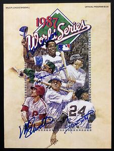 Willie Mays Signed Program 1987 WS Baseball Autographs Aaron Jackson Schmidt JSA