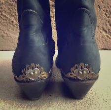 VTG Zodiac Leather Boots Black Brass Hearts Cowgirl Gypsy Bohemian Festival 8N