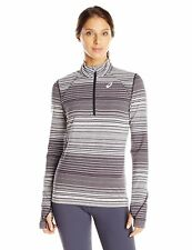 Asics THERMOSTRIPE Womens 1/2 Zip Lightweight Running Shirt Size XS Grey NEW
