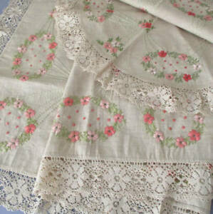 Antique Linen Runner + Topper Hand Embroidered Society Silk FLOWERS w Lace Trim