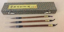 Vintage Chinese Calligraphy Brush Writing Instruments with Silk Box