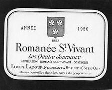 BOURGOGNE ETIQUETTE ROMANEE SAINT VIVANT 1950 LES QUATRE JOURNAUX     §26/06/17§