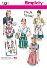 Simplicity Sewing Pattern 1221 Retro 1940s Style Aprons S-l