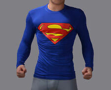 Superman Full Sleeve T shirt Round Neck Blue (Size:- L)