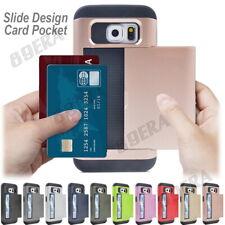 Hybrid Heavy Duty Slide Cards Pocket Shockproof Case Shell For Samsung Phones