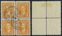 Canada Scott 234, 4c George VI Mufti Issue in Block of 4