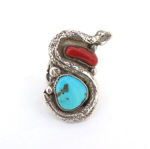 .Vintage Sterling Silver Turquoise & Coral Stylised Shape Snake Ring 17.1g